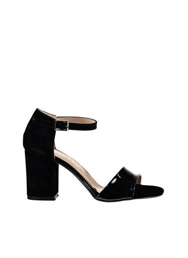 Pembe Potin A320-18 Siyah Kadın Topuklu Ayakkabı